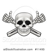 Vector Illustration of a Human Skull over Crossbone Arms Giving Thumbs up by AtStockIllustration