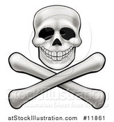 Vector Illustration of a Human Skull over Crossbones by AtStockIllustration