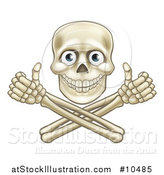 Vector Illustration of a Human Skull with Eyeballs, over Crossbone Arms Giving Thumbs up by AtStockIllustration