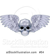 Vector Illustration of a Human Skull with Feathered Wings Spanning by AtStockIllustration