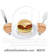 Vector Illustration of a Hungry Persons Hands Holding Silverware by a Cheeseburger by AtStockIllustration