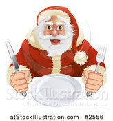 Vector Illustration of a Hungry Santa Seated with a Blank Plate by AtStockIllustration