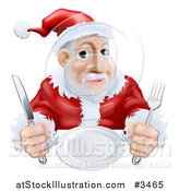 Vector Illustration of a Hungry Santa Waiting for His Dinner by AtStockIllustration