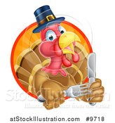 Vector Illustration of a Hungry Thanksgiving Turkey Bird Wearing a Pilgrim Hat and Holding Silverware by AtStockIllustration