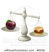 Vector Illustration of a Imbalanced Scale with an Apple and Cheeseburger by AtStockIllustration