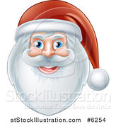 Vector Illustration of a Jolly Christmas Santa Face with a Beard and Hat by AtStockIllustration