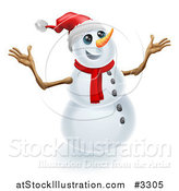 Vector Illustration of a Jolly Christmas Snowman Holding up His Arms by AtStockIllustration