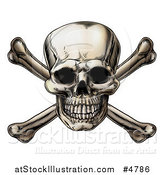 Vector Illustration of a Jolly Roger Skull over Crossbones by AtStockIllustration