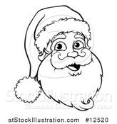 Vector Illustration of a Jolly Santa Face - Outlined Version by AtStockIllustration