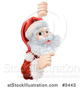 Vector Illustration of a Jolly Santa Pointing to a Christmas Sign by AtStockIllustration