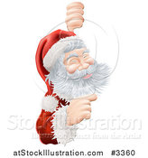 Vector Illustration of a Jolly Santa Pointing to a Sign by AtStockIllustration