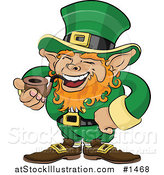 Vector Illustration of a Jolly St Patricks Day Leprechaun with Red Hair, Dressed in Green and Laughing While Smoking a Tobacco Pipe by AtStockIllustration