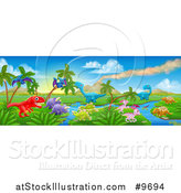 Vector Illustration of a Jurassic Landscape with a Volcano and Dinosaurs by AtStockIllustration
