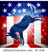 Vector Illustration of a Kicking Democratic Donkey over an American Flag Themed Burst by AtStockIllustration
