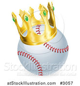 Vector Illustration of a King Baseball Wearing a 3d Golden Crown by AtStockIllustration