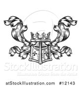 Vector Illustration of a Knights Great Helm Helmet and Foliage Crest Coat of Arms by AtStockIllustration
