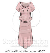 Vector Illustration of a Ladies Light Pink Dress by AtStockIllustration