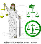 Vector Illustration of a Lady Justice, Blindfolded, Carrying a Sword and Scales by AtStockIllustration