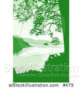 Vector Illustration of a Lake, Mountains and Trees in Green Tones by AtStockIllustration