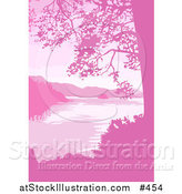 Vector Illustration of a Lake, Mountains and Trees in Pink Tones by AtStockIllustration