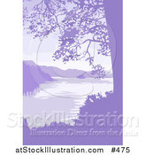 Vector Illustration of a Lake, Mountains and Trees in Purple Tones by AtStockIllustration
