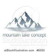 Vector Illustration of a Lake with Mountains over Sample Text by AtStockIllustration