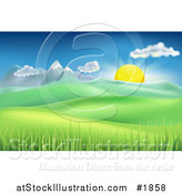 Vector Illustration of a Landscape Background of the Sun Rising over Mountains and Hills by AtStockIllustration