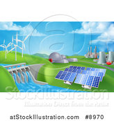 Vector Illustration of a Landscape of 3d Renewable Energy Plants with a Dam, Solar Panels, Wind Turbines, Coal Plants and Nuclear Plants by AtStockIllustration