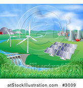 Vector Illustration of a Landscape of Wind Turbine Nuclear Fossil Fuel Coal Solar Panels and Hydro Electric Power Generation Plants by AtStockIllustration