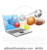 Vector Illustration of a Laptop Computer and Sports Balls Flying from the Screen by AtStockIllustration