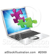 Vector Illustration of a Laptop Computer with 3d Jigsaw Puzzle Pieces by AtStockIllustration