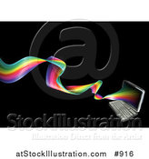 Vector Illustration of a Laptop Computer with a Twisting Rainbow Emerging from the Screen by AtStockIllustration