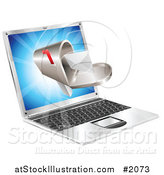 Vector Illustration of a Laptop Screen with a Mailbox and Message by AtStockIllustration
