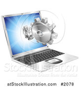 Vector Illustration of a Laptop Screen with Gears Emerging by AtStockIllustration