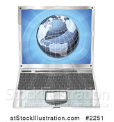 Vector Illustration of a Laptop with a Globe on the Screen by AtStockIllustration
