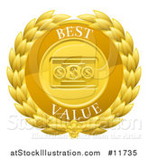 Vector Illustration of a Laurel Wreath Badge with Best Value Text by AtStockIllustration