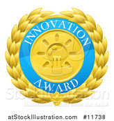 Vector Illustration of a Laurel Wreath Badge with Innovation Award Text by AtStockIllustration