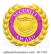 Vector Illustration of a Laurel Wreath Badge with Security Award Text by AtStockIllustration