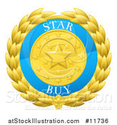 Vector Illustration of a Laurel Wreath Badge with Star Buy Text by AtStockIllustration