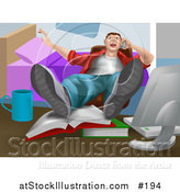 Vector Illustration of a Lazy Man Talking on the Phone with His Feet up on Books on a Table by AtStockIllustration