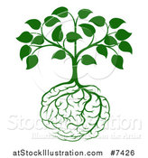 Vector Illustration of a Leafy Green Heart Shaped Tree with Brain Roots by AtStockIllustration