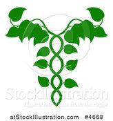 Vector Illustration of a Leafy Green Medical Dna Caduceus Plant by AtStockIllustration