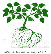 Vector Illustration of a Leafy Green Tree with Brain Roots by AtStockIllustration