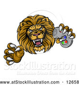Vector Illustration of a Leaping Male Lion Holding a Video Game Controller by AtStockIllustration