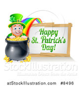 Vector Illustration of a Leprechaun with a Pot of Gold at the End of a Rainbow, with a Happy St Patricks Day Sign by AtStockIllustration