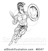 Vector Illustration of a Lineart Black and White Muscular Spartan Man in a Helmet Fighting and Jumping with a Sword and Shield by AtStockIllustration