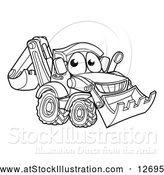 Vector Illustration of a Lineart Bulldozer Digger Mascot Character by AtStockIllustration