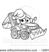 Vector Illustration of a Lineart Bulldozer Digger Mascot Character Wearing a Santa Hat by AtStockIllustration