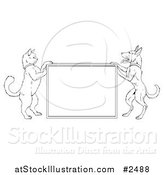 Vector Illustration of a Lineart Cat and Dog Standing up and Framing a Sign by AtStockIllustration