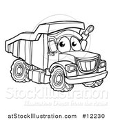 Vector Illustration of a Lineart Dump Truck Mascot Character by AtStockIllustration